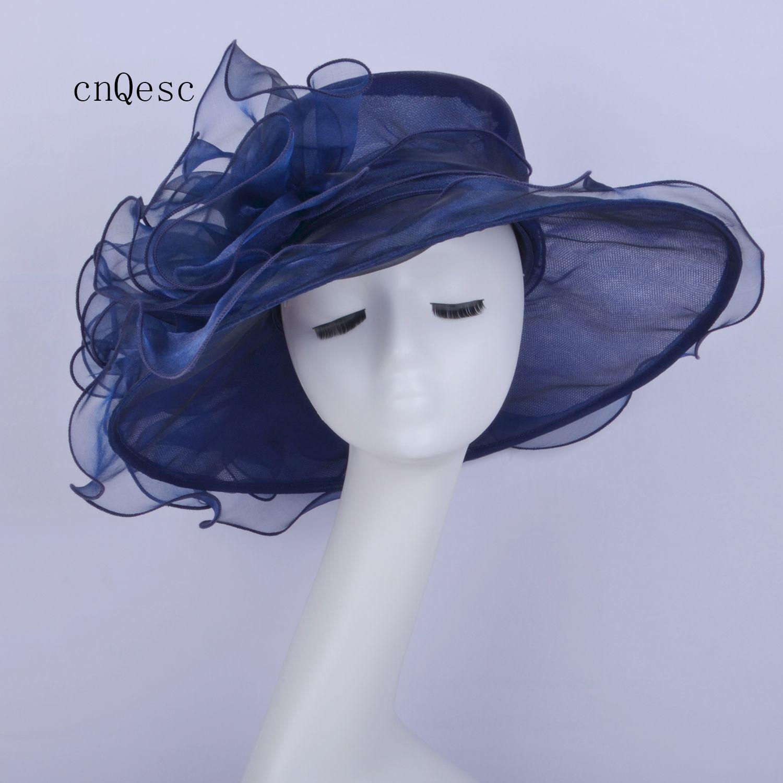 2019 cappello blu in organza a tesa larga cappello a rete cappello da donna cappello formale abito per festa di gare di matrimonio in chiesa del Kentucky derby