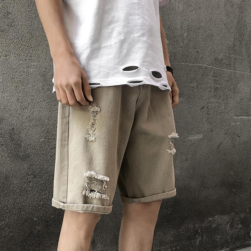 Sommer-Denim Shorts Herrenmode Gewaschene Retro beiläufige kurze Jeans Men Street Wilde lose Hip Hop-Denim-Hosen der Männer M-3XL T200502