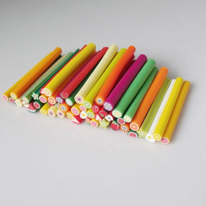 40 Pcs Flores Fruit Fimo Canes vara 3D Nail Art Decoração Polymer Clay Canes Nails adesivos Dicas 3 milímetros Slices projeto