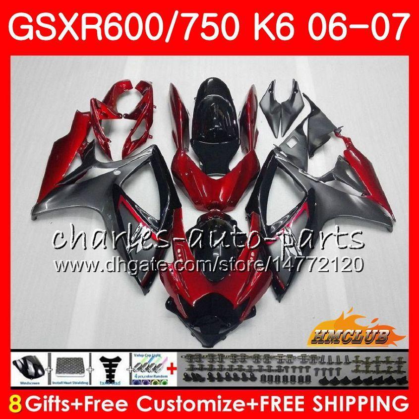 Corpo para Suzuki GSX R600 GSX-R750 GSXR-600 Dark Red Stock GSXR600 06-07 8HC.7 GSX R750 GSXR 600 750 06 07 K6 GSXR750 2006 2007 Kit de Feira