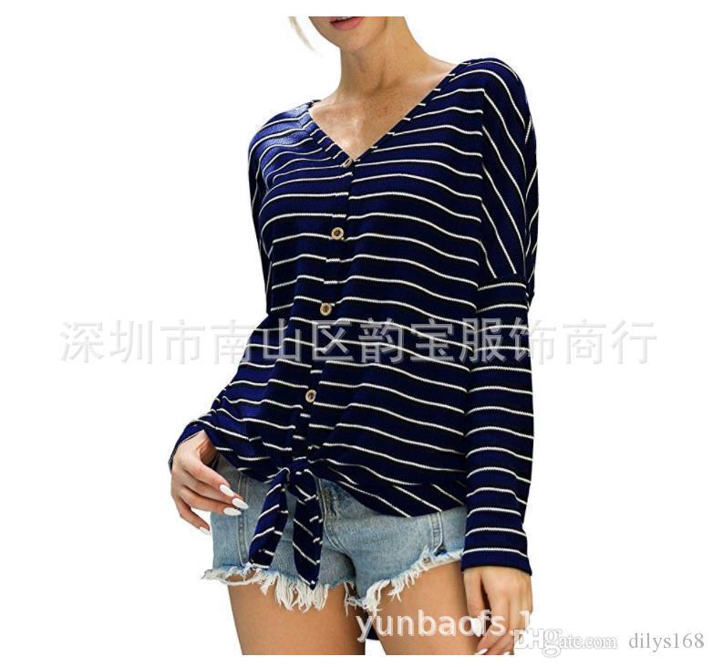 Осенью длинным рукавом V-образным вырезом блузы футболки кардиган вязаный свитер Женщина Вязаные тройники Тонкая шерсть полосой сращивания Однобортный девочка