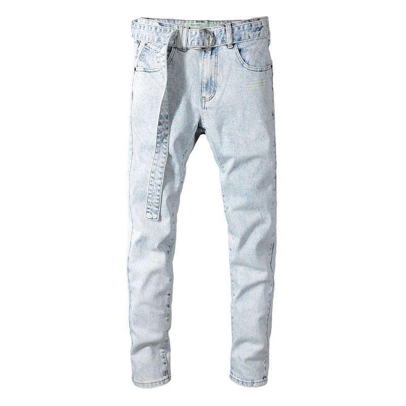 -Men Stretch Skinny Robin Jeans Designer masculin Super élastique pantalons droits Jeans Slim Fit Fashion Denim Ceinture Jeans