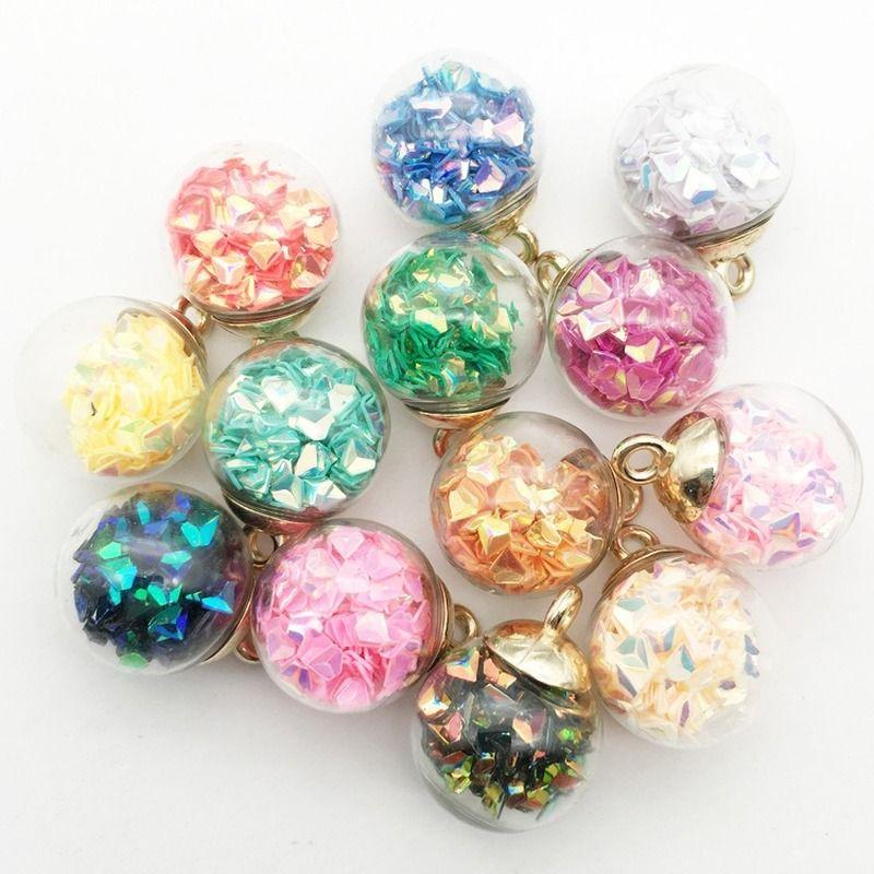 10pcs / мешок популярного треугольника полимерного лист 16x21mm способ кристаллических стеклянный шарик кулон ожерелье DIY волосы веревочка серьга аксессуары