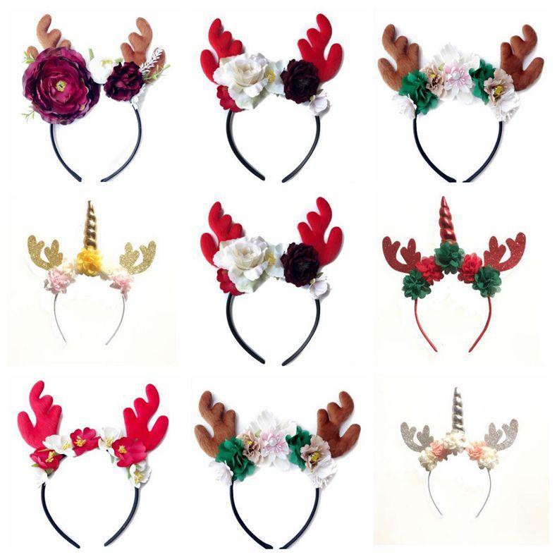 Natale Unicorn Hairband Deer Elk Horn capelli cerchi di compleanno di festa del partito Hair Sticks fascia del fiore del copricapo dei capelli del bambino accessori C6276