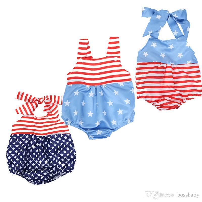 Summer Baby Girl Romper American Flag Independence National Day USA 4 de julio Star Sling rojo Sling Botón sin mangas Dumpsuit