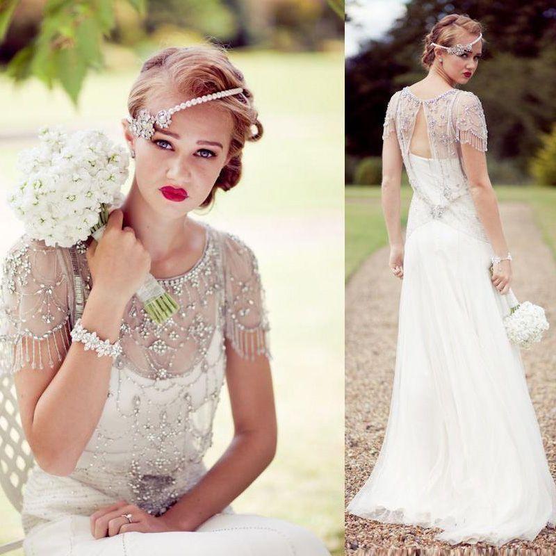 Discount Vintage Great Gatsby Sparkly Crystal Beach Wedding