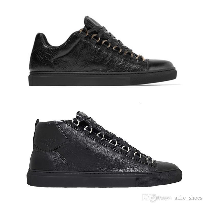 Arena zapatilla de deporte de los hombres del diseñador entrenadores de lujo se arrugaron los zapatos con cordones escotados estrenar de calidad superior Pisos 100% cuero genuino con la caja