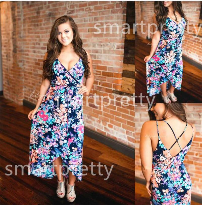2020 Women Floral long dress Ladies Flowers Backless Cross Strap Maxi dresses Frount Short Ball gown Dinner Evening Party Dresses LY331