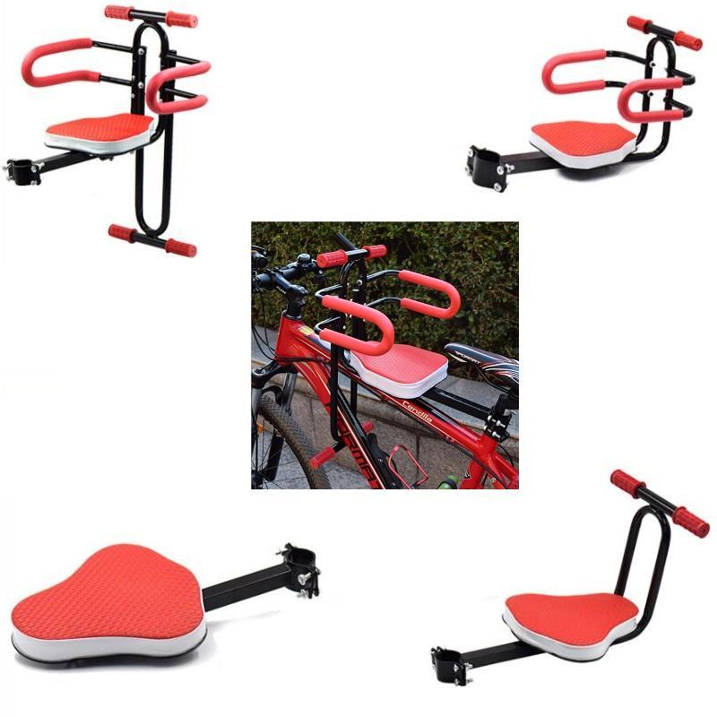 Asiento de seguridad para bicicletas niños hijos de una silla Volver cómodo asiento para la bicicleta con pedales Apoyabrazos pies del reposapiés montar de la bici de Seguridad