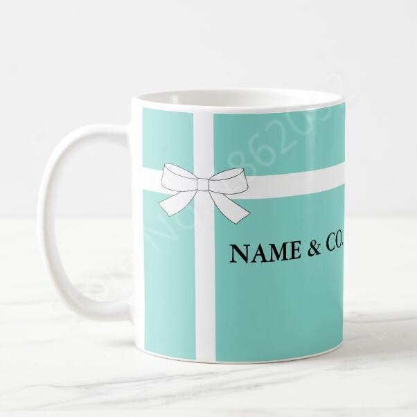 참신 개인 이름과 공동 커피 잔 차 컵 세련된 민트 블루 개인 머그컵 컵 Bestie 친구 동료 패션 11 온스