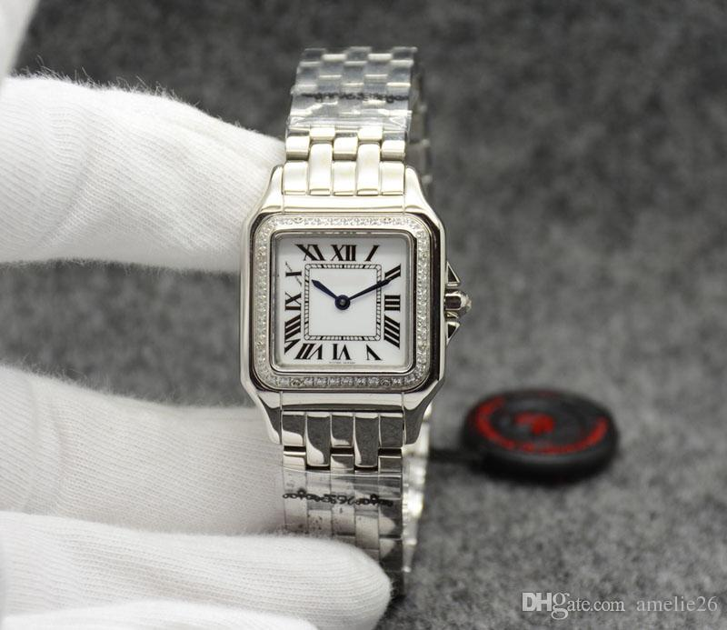 Argent avec strass Femmes Montre Femme Or Acier Inoxydable Montres À Quartz Montre Femme Cadeau Horloge Dames montre-bracelet pour femme