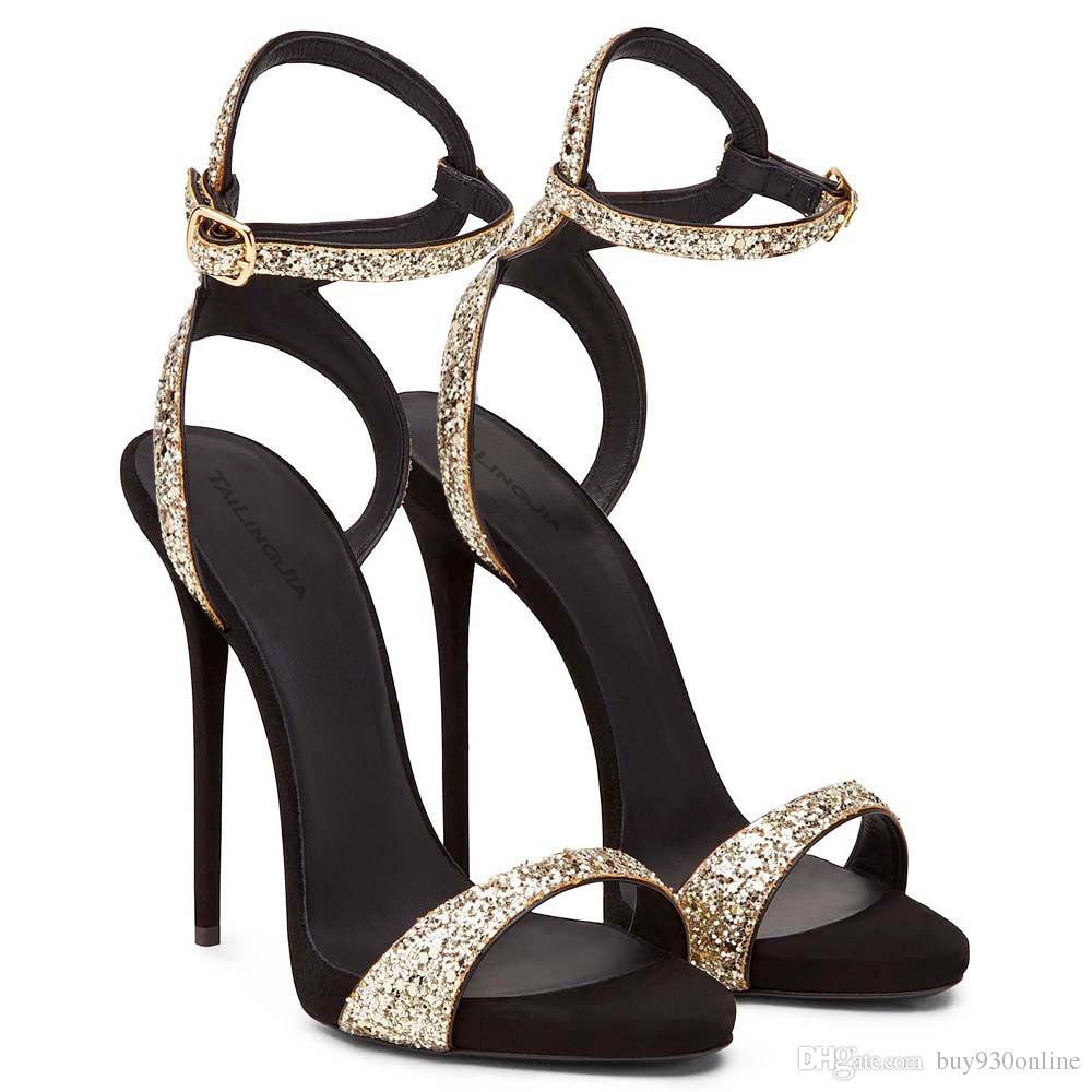 Classics High Heels Sandals 2019 Wedding Dress Shoes Open Toe Stiletto High Heels Evening Party Elegant Black Color Summer Women Shoes