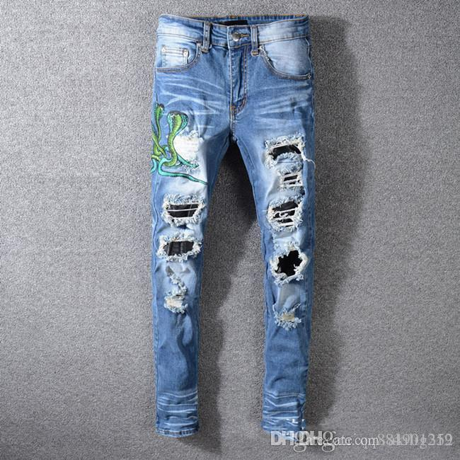 2020 men s luxury designer denim jeans Ripped Skinny Slim Elastic Denim Fit Biker Jeans Fashion Zipper Ripped jeans de designer pour hommes