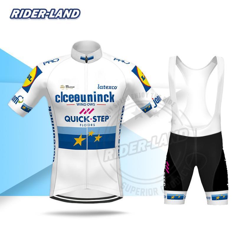 Passo Men Ciclismo Vestuário Breve Pro Team manga curta Jersey Set Europeia Deceuninck Uniforme raça 2020 Verão Road Bike