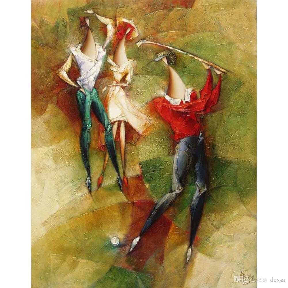 Dipinte a mano dipinti astratti Giocatore di golf figura opere d'arte moderna per la decorazione della parete ufficio