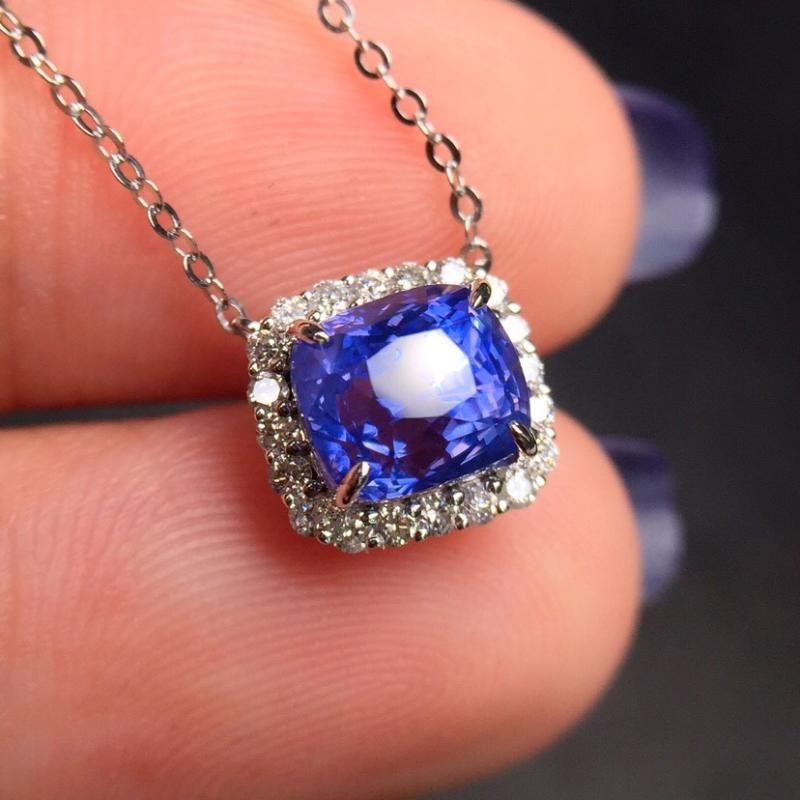 غرامة مجوهرات CGL شهادة ريال 18K الذهب الأبيض AU750 الطبيعية الياقوت الأزرق 2.63ct الأحجار الكريمة المعلقات قلادة للمرأة الجميلة