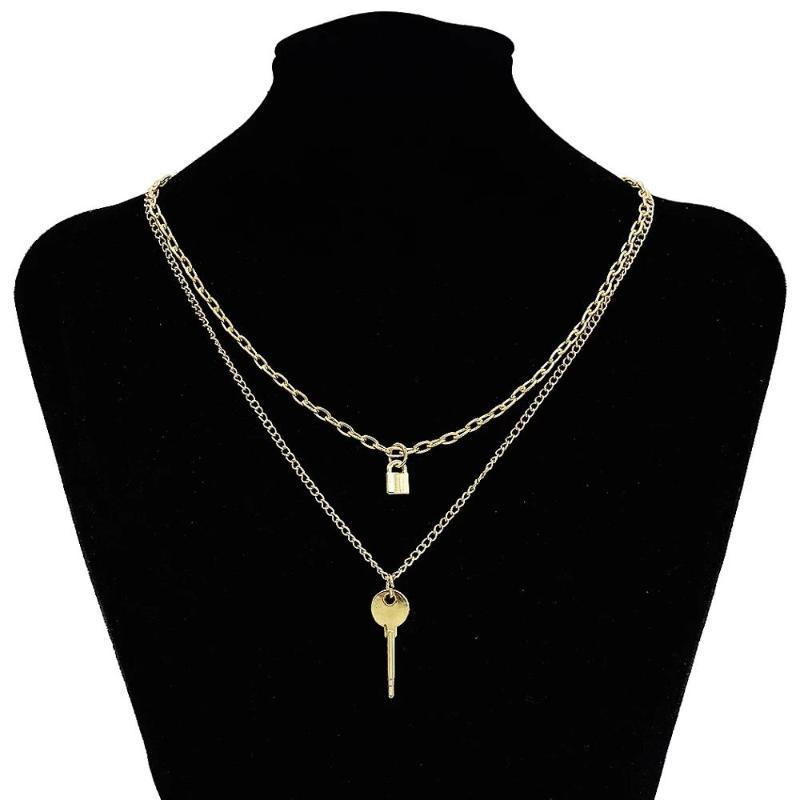Multicapa de oro dominante del metal de encaje colgante, collar de cadena mujeres en capas en el cuello punck 2020 joyería de moda regalos femeninos