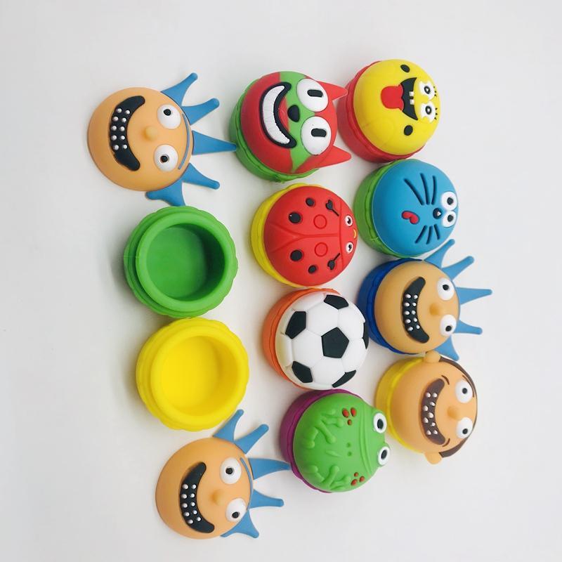 Silicone Dab Jars antiadhésives de Cartoon Design de cire concentré Jar Conteneur de stockage à sec aux herbes Pour Dabs