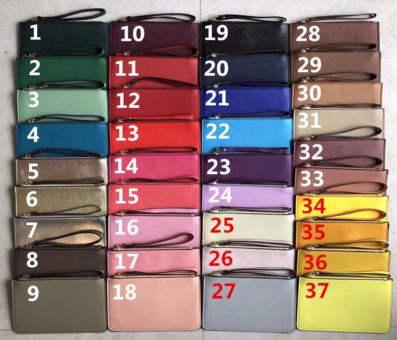 37 couleurs marque portefeuilles femmes wristlet porte-monnaie sacs d'embrayage PU avec fermeture éclair