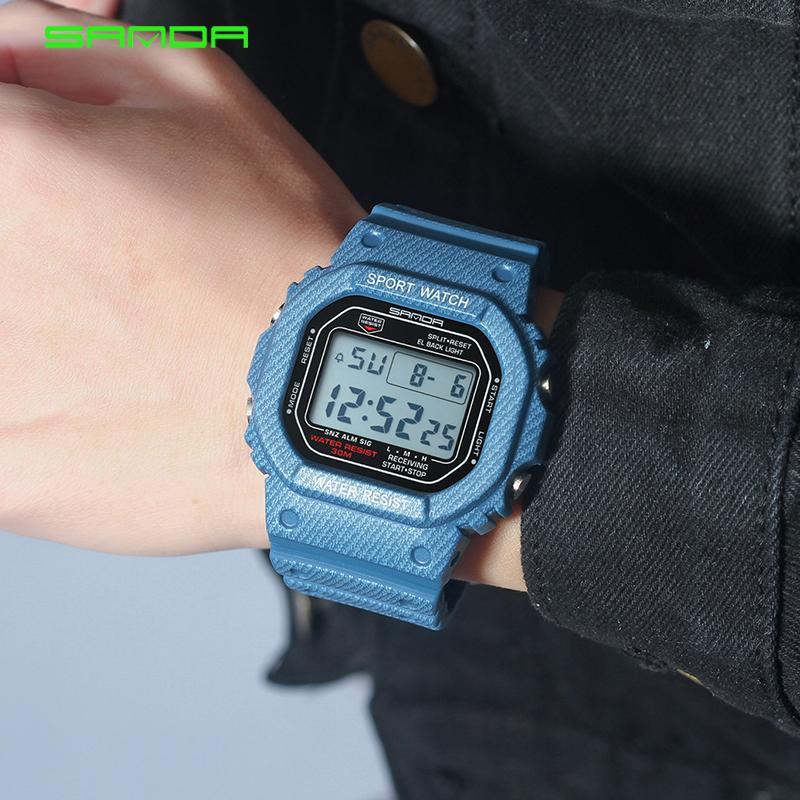 2019 New Denim SANDA Sport Digital Watch G Style LED Men's Watches Waterproof Resist Clock relogio masculino esportivo