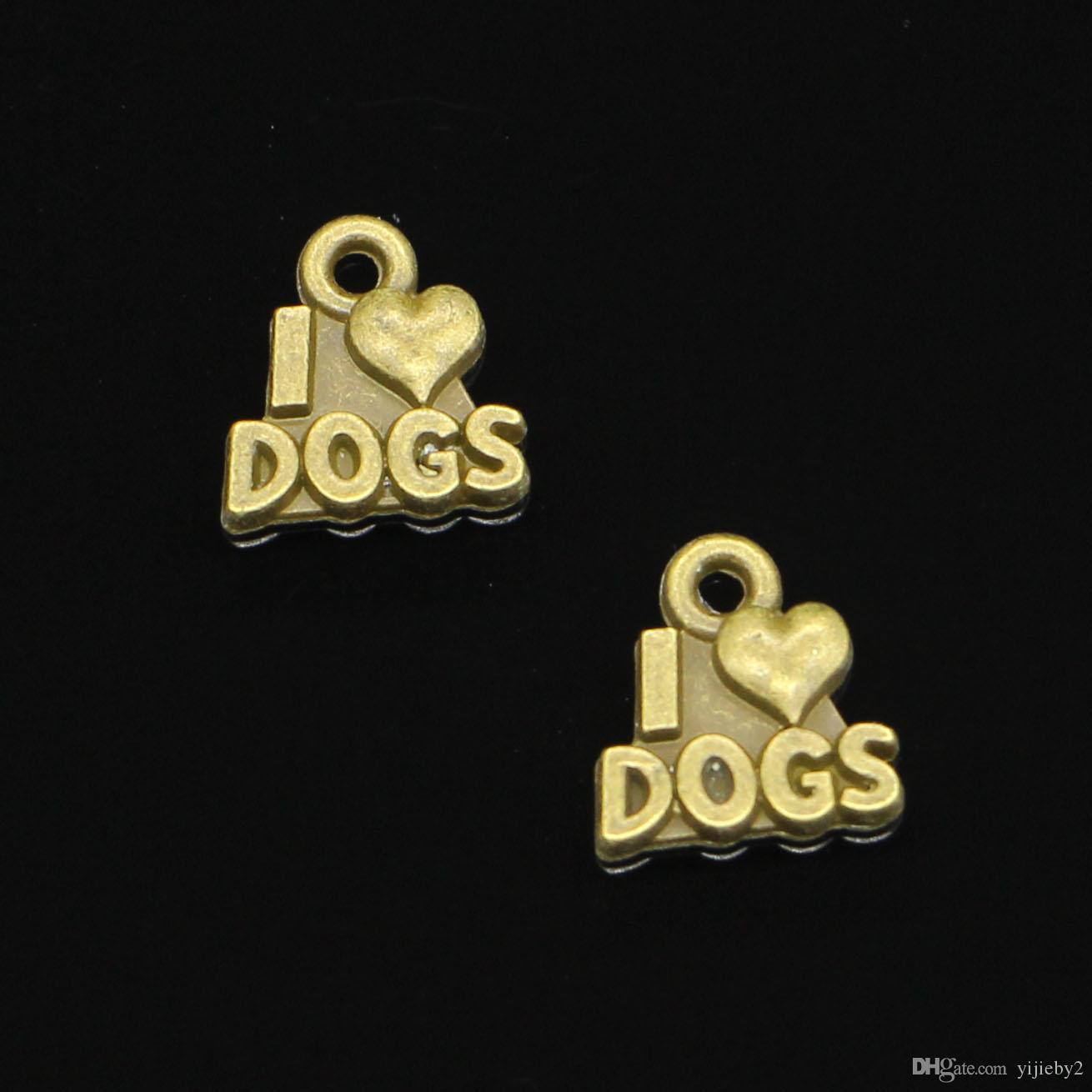 182pcs fascini Mi amano i cani pendenti placcati bronzo antico Monili adatti che fanno gli accessori di risultati 13 12mm *