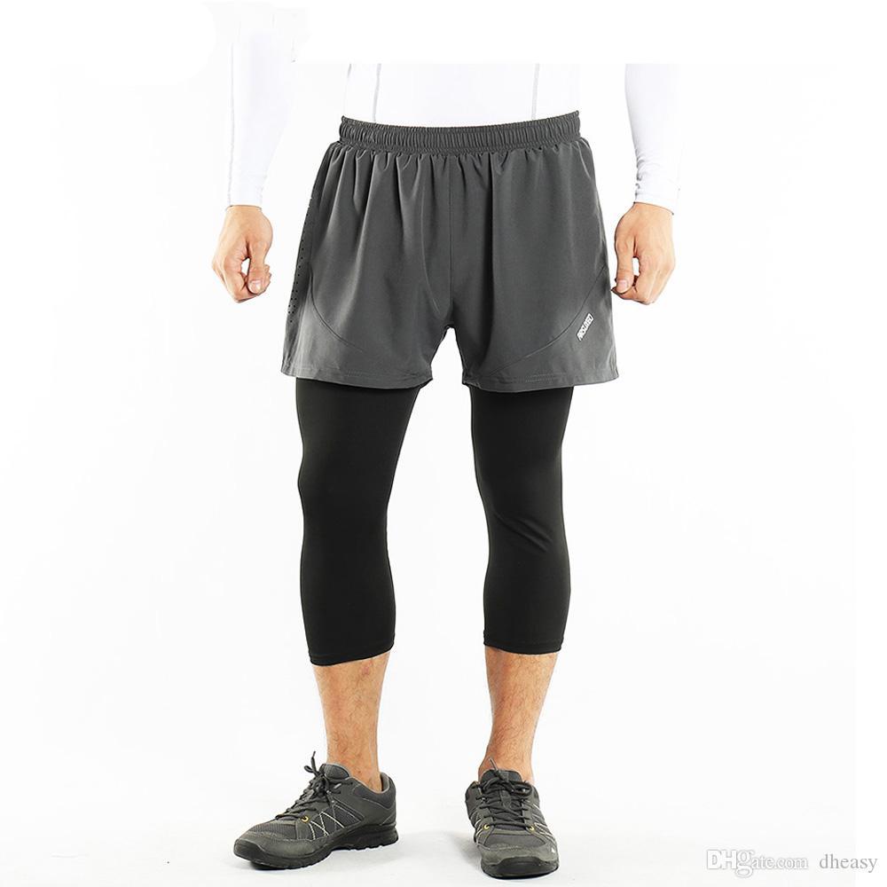 Venta al por mayor Pantalones cortos para correr de verano 2 en 1 de secado rápido, transpirable, entrenamiento activo, pantalones cortos para correr con medias de compresión 3/4