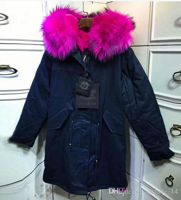 로즈 너구리 모피 트림 Hoody Meifeng 브랜드 겨울 여성 코트 장미 토끼 벨벳 안감 해군 파란색 긴 파카