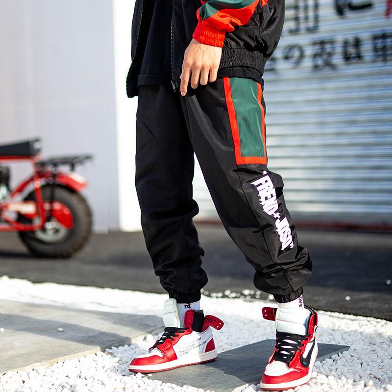 Color Block Patchwork Printed Harem Pants Hip Hop Casual Joggers Trousers 2019 Mens Spring Autumn Streetwear Pants Black