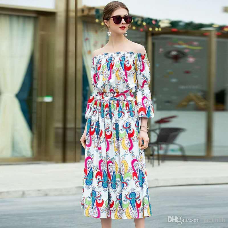 super popular a3fab a91cb Compre 2019 Moda Mujer Marca Diseñó Trajes De Falda Conjuntos De Dos Piezas  Trajes De Pasarela De Impresión Floral Faldas Elegantes Camisas De La ...
