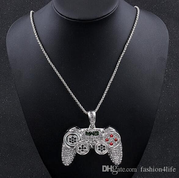 Spielmaschine Controller Griff Anhänger Halskette für Frauen Männer Voll Iced Out Gold Kristall Strass Schmuck Halsketten