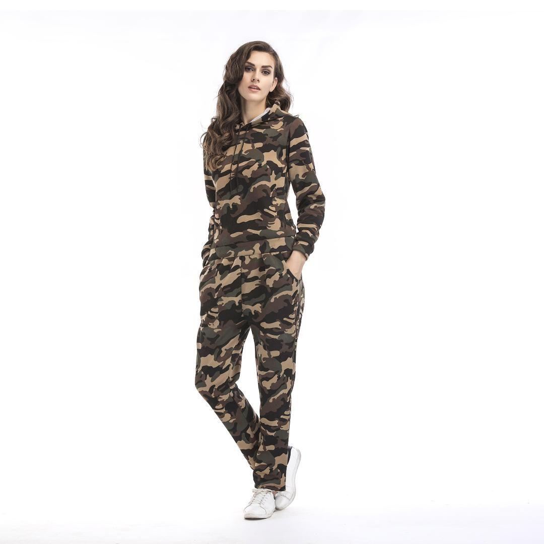 İki Adet Set Üstü ve Pantolon Kıyafetler Eşofman Kadınlar Kamuflaj Hoodie Kazak Sweatpants Kış Sporları Suit Bayanlar yazdır Güz