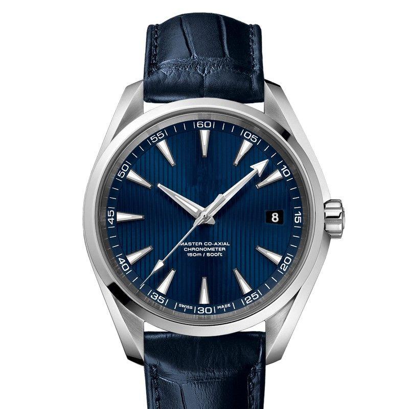 2010 Whosales neue Art und Weise Zifferblatt blau Mann Uhren Leder Einzelhandel Uhren Hochwertige Uhr Male Luxus Top-Design-Uhr Nizza Tisch Armbanduhr