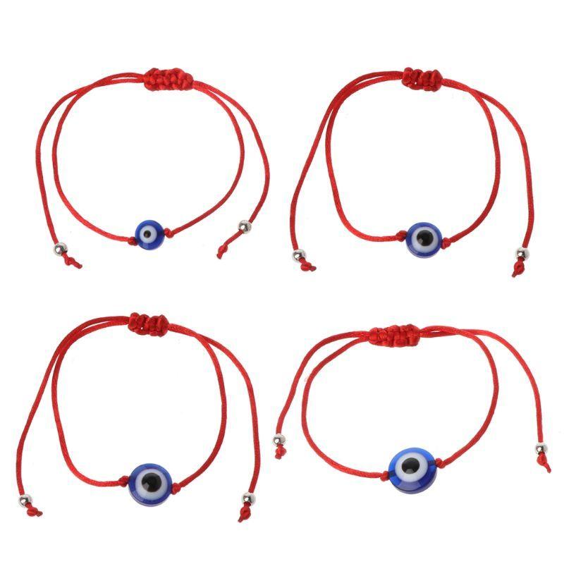 8/10/12/14mm Lucky Blue Evil Eye Bead Bracelet Red String Thread Rope Bracelet Amulet Jewelry 2019 Gifts