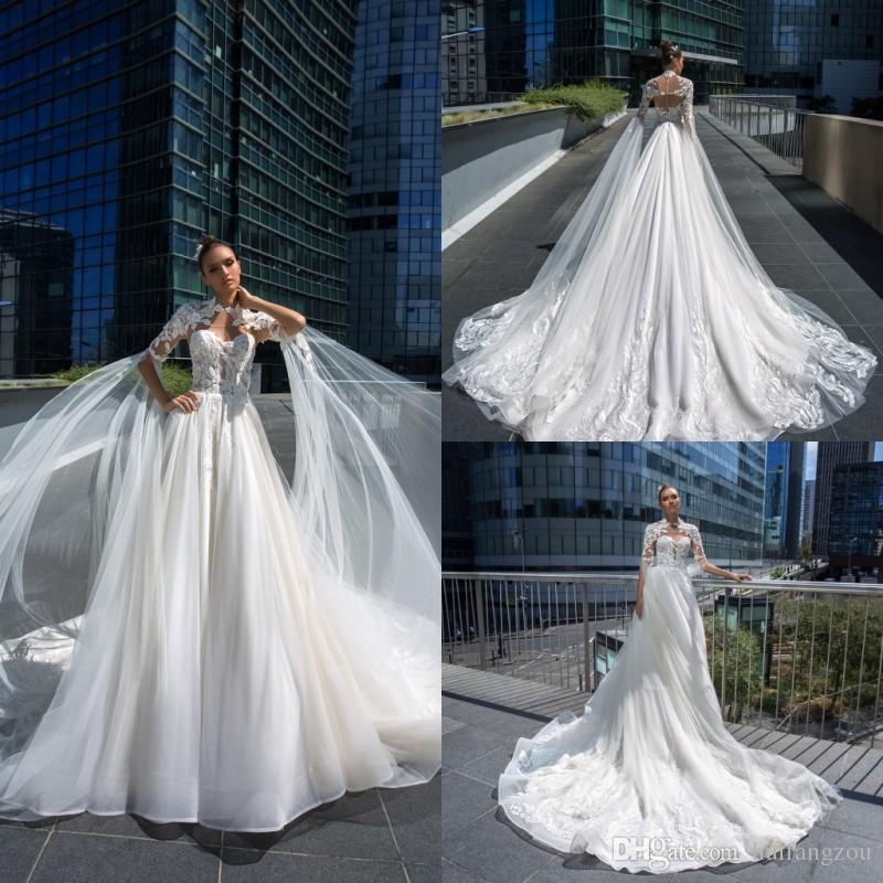2019 trem da varredura vestidos de noiva vintage com envoltório longo lace apliques de tule vestidos de noiva custom made plus size vestido de noiva