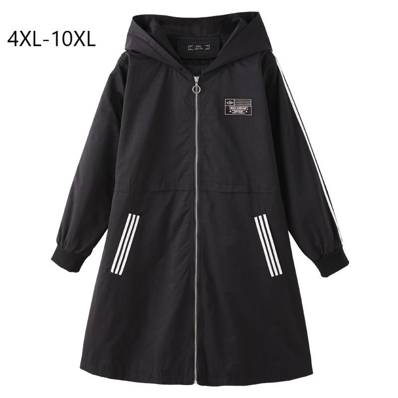 Plus Size 10XL 9XL 8XL 4XL Women Spring Long Sleeves Hooded Coat Female Slim Casual Long Trench DT191028