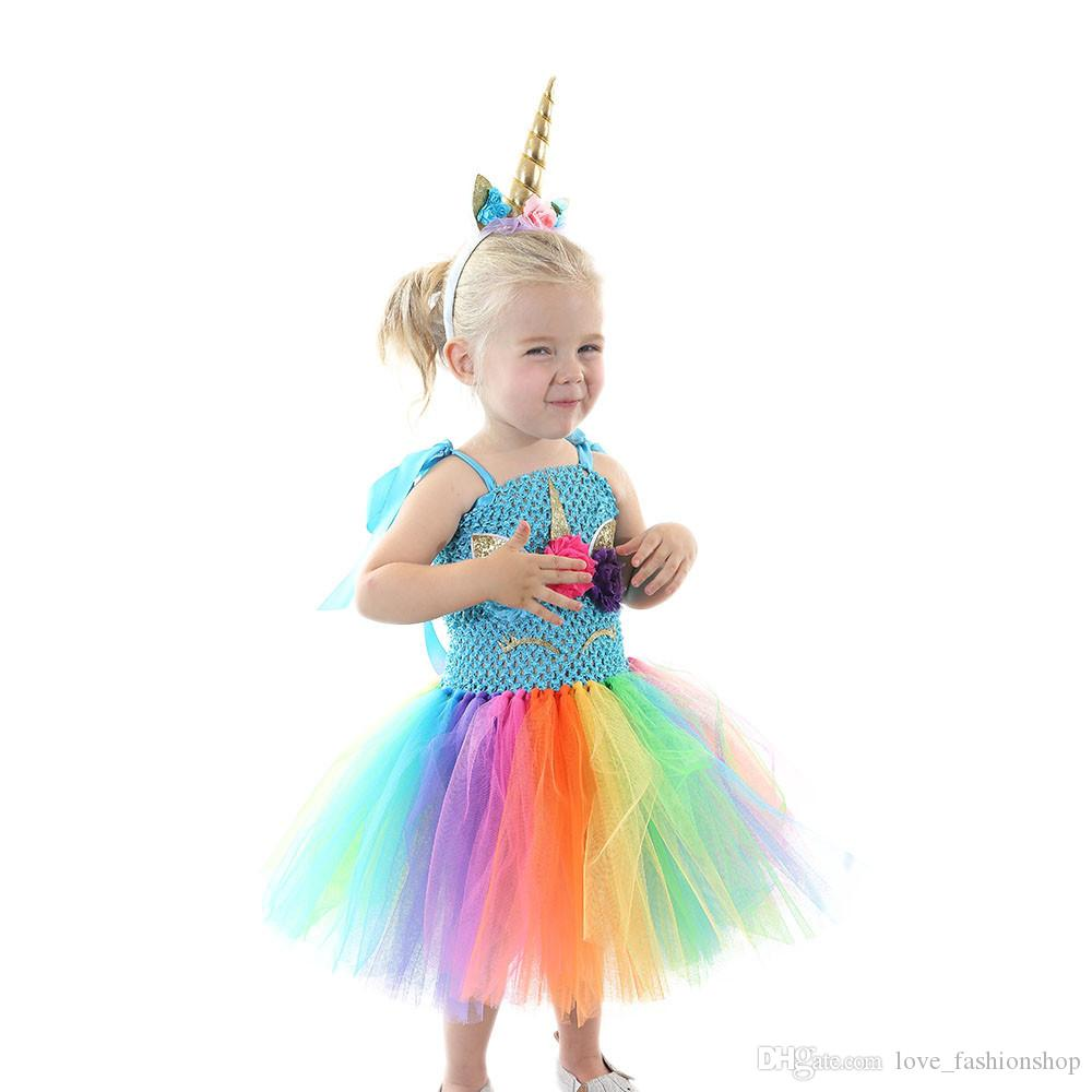 Retail kids designer dress girls tutu unicorn rainbow flower princess dress with headband baby girl Halloween cosplay costume clothes