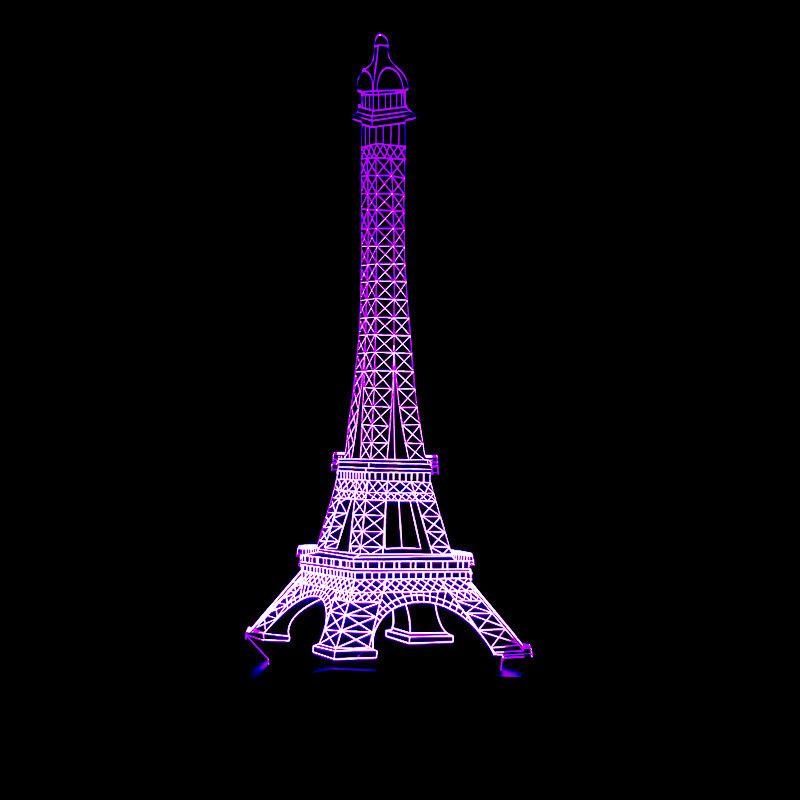 Colorido Torre Eiffel Tower3d Eiffel Lâmpada Led Controle Remoto Interruptor de Toque Gradual Mudança Visão Pequena Noite-luz