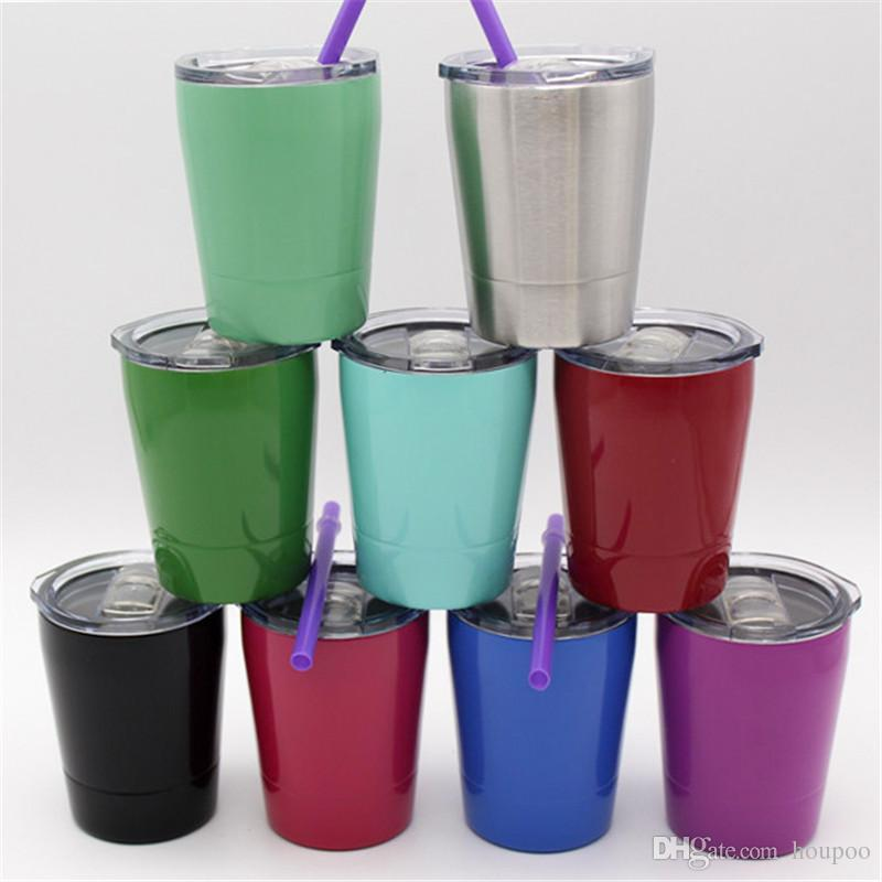 9OZ Wine Glasses 304 Stainless Steel Thermos 10 Colors Portable Drinkware water bottle Keep Warm Cold Coffee Mugs Cups for Kids 9 colors