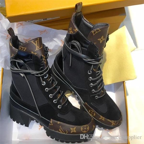 Laureate Çöl Botları Bayan Ünlü Tasarımcı Çizmeler Deri ile Bayanlar Platformu Tıknaz Topuklu Ayak Bileği Bootie Kutusu ile LLL22