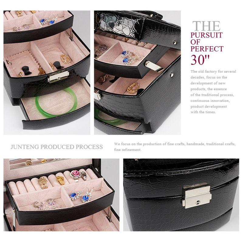 New Automatic Leather Jewelry Box Three-layer Storage Box For Women Earring Ring Cosmetic Organizer Casket For Decorations
