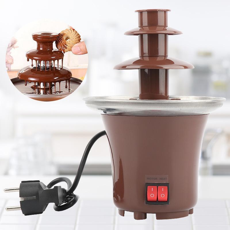 Nuova Mini Fontana di cioccolato Tre strati Creative Design cioccolato si fondono con riscaldamento Fondue macchina fai da te mini cascata Hotpot