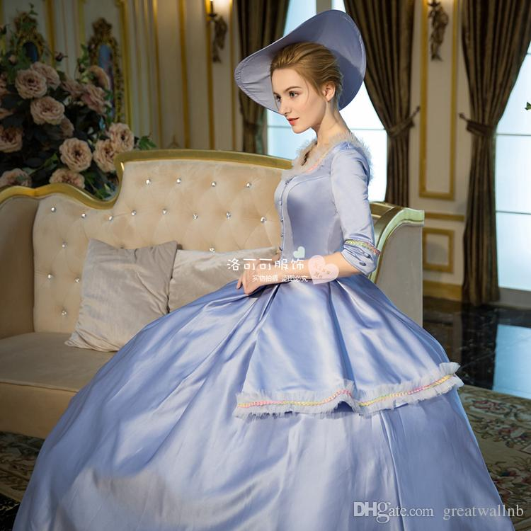 100% echte hellblaue gekräuselte Spitze Karneval Ballkleid mit Hut Medieval Renaissance Gown Queen Kostüm viktorianischen Kleid / Marie Antoinette / Studio