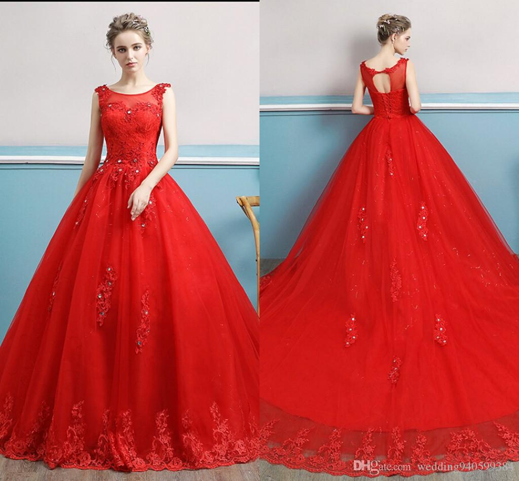 2b55fcd175d ... Robe de soiree 2019 ball gown red lace appliques wedding dress hollow  back sexy corset sleeveless ...
