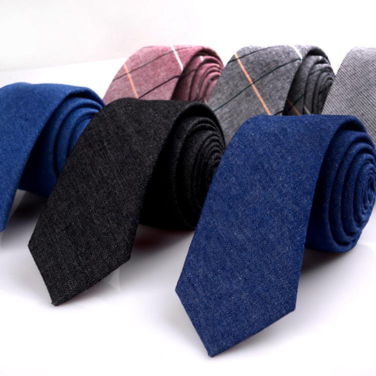새로운 남성 비즈니스 넥타이 체크 치노 캐주얼 코튼 영국 결혼식 고품질 순수한 제한된 프로모션 블루 블랙 11 색 목 넥 넥타이 남자 선물