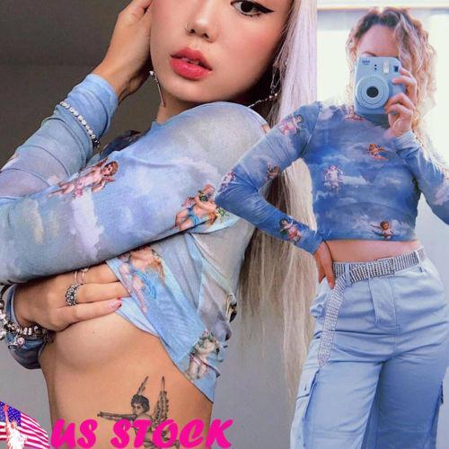 Сексуальный синий укороченный топ с длинным рукавом для женщин Sheer Mesh Fish Net Turtle Neck See Crop Top Футболка Lady Casual Pullpver