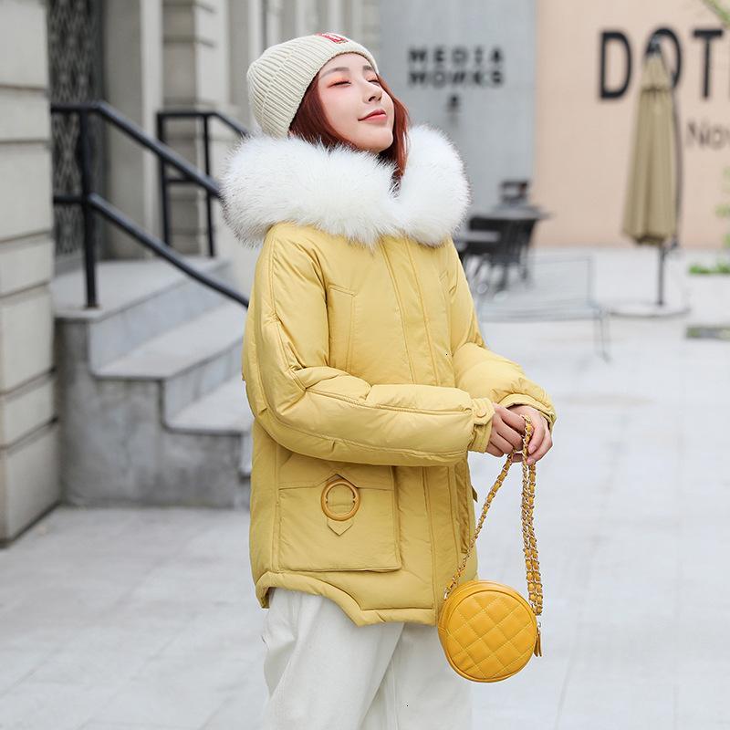 2019 chaqueta de nuevo de la manera Mujeres largo invierno de algodón acolchado caliente espesa larga de las señoras con capucha blanca cuello de piel para mujer Parka Chaquetas