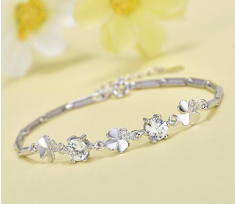 Fashion-Sterling Silver Crystal Bracelet luxury jewelry simple bracelet for women /girls New fashion free of shipping
