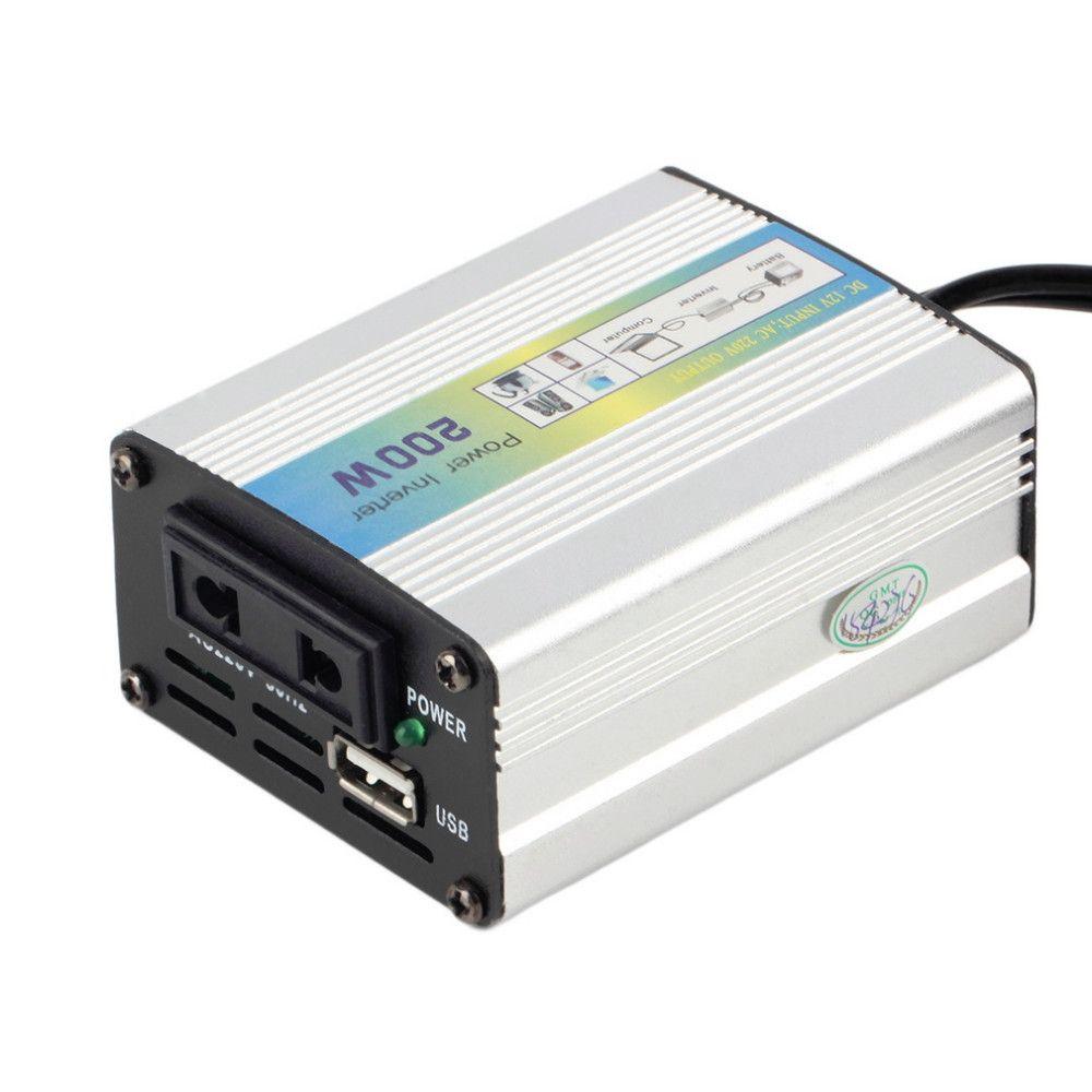 200W portátil USB para el coche del barco del carro DC 12V a 220V AC 110V envío de EE.UU. super potencia del inversor del convertidor de la UE libre del cargador