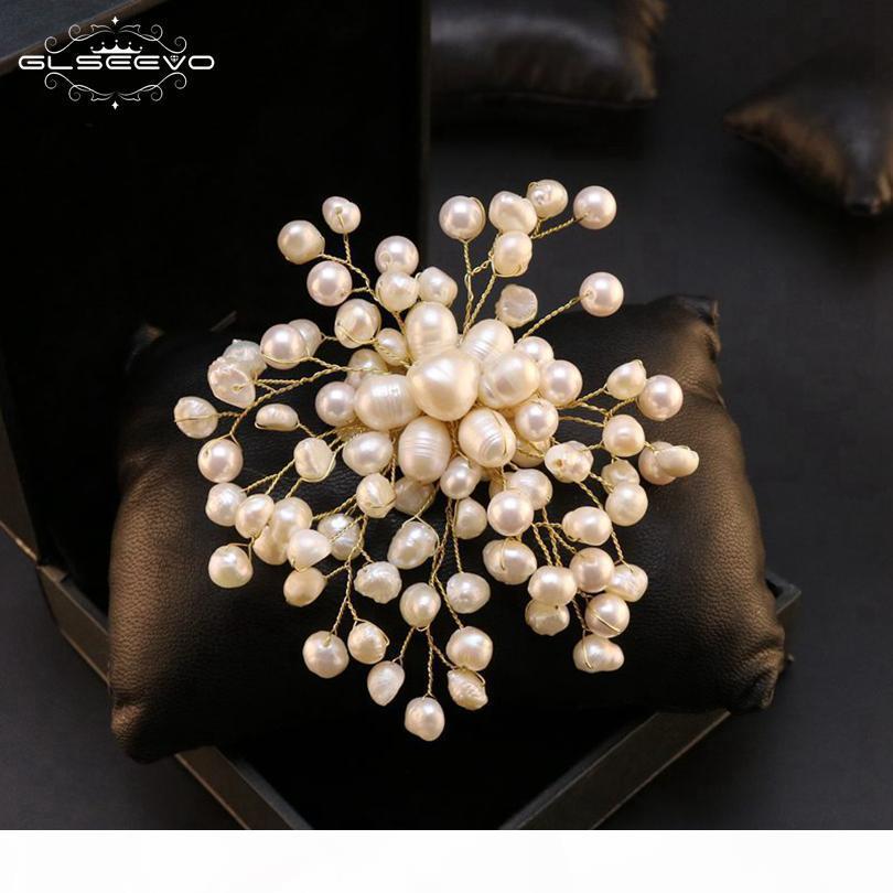 Barroco Água GLSEEVO Natural fresco Pérola Snowflake Broches Mulheres Party For Wedding broche de luxo artesanal GO0332 Jóias