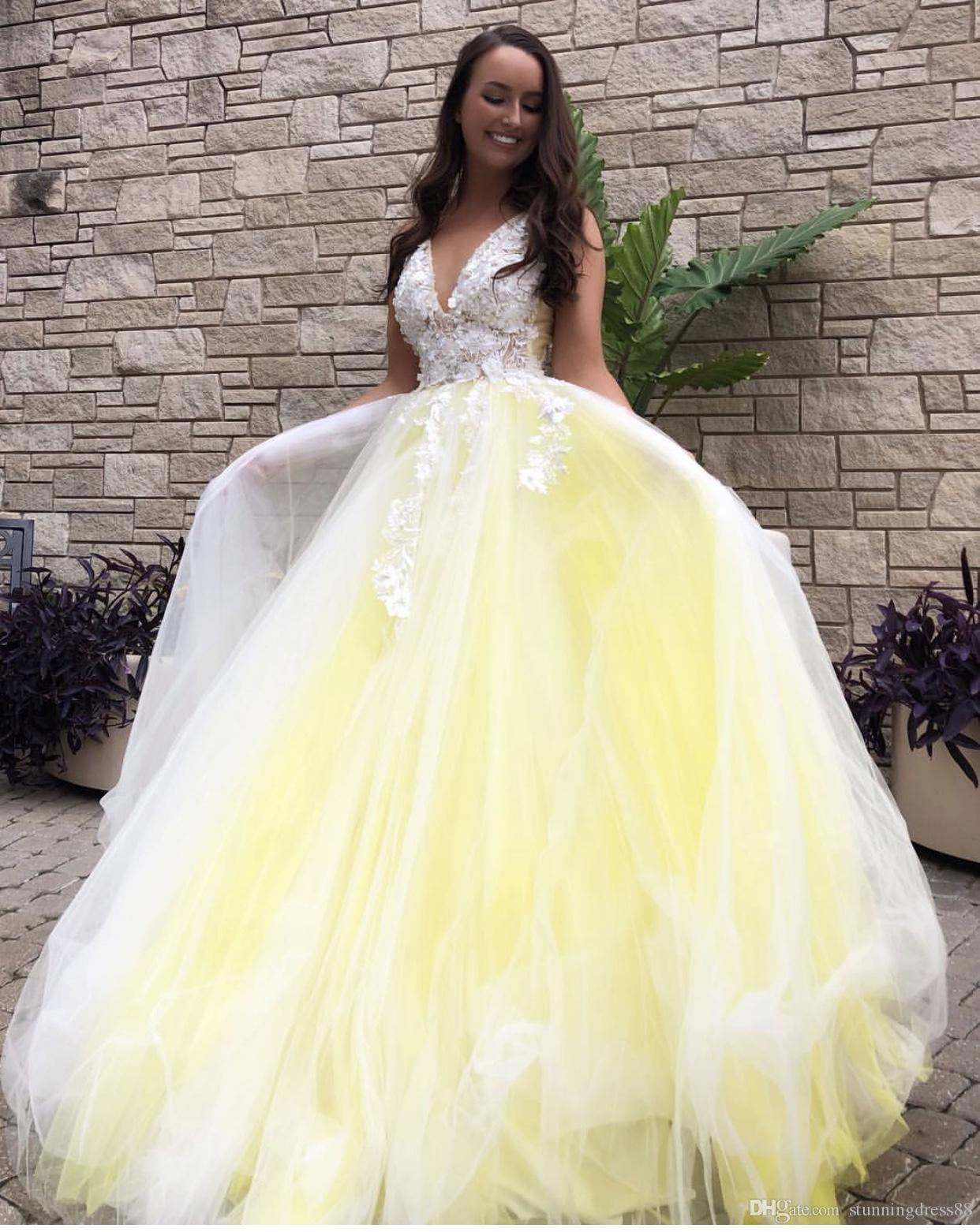 f5de451b469f ... Bright Yellow White Lace 3D Floral Flower Ball Gown Evening Celebrity Dresses  Formal Gowns V neck